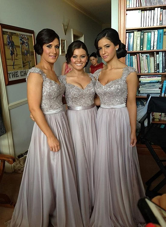 Fanciest Women Cap Sleeve Lace Bridesmaid Dresses Long Wedding Party Gowns