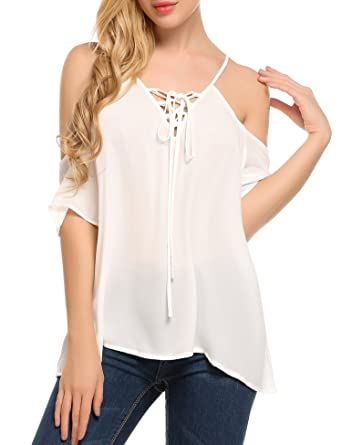 621667a549ef0 Meaneor Women Chiffon Off Shoulder Shirt Casual Loose Short Sleeve Top  White S
