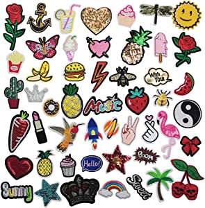 "Niangzisewing Mix Lots Bulk 50pcs Iron on Patches sew on Patches Craft Embroidery Patch Motif Clothes Jackets Hats Backpacks Jeans Kids Rainbows Rose Bird Butterfly Hearts (Mix, from 1"" to 3"")"
