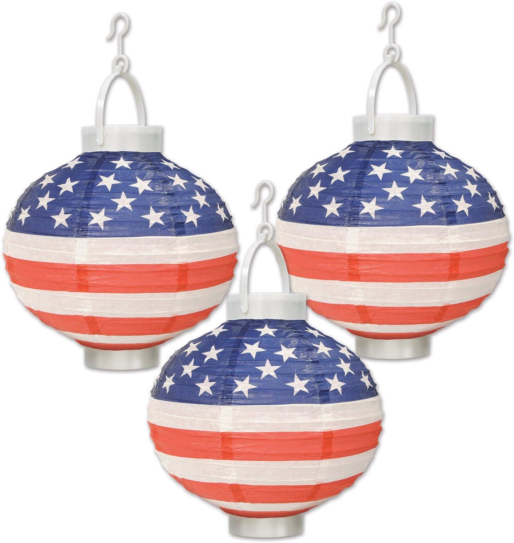 Just Artifacts 12inch Hanging Paper Lanterns Patriotic Pattern, 3pcs