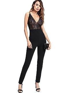 554f1bb51b Amazon.com  Romwe Women s Sexy Scalloped Plunge Neck Crisscross ...