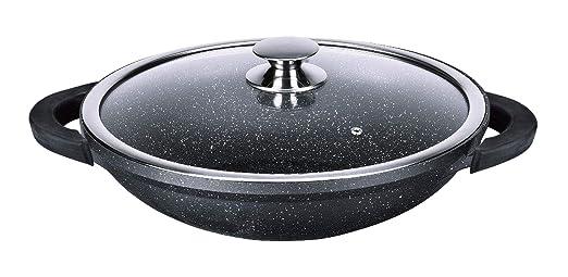 Kamberg - 0008046 - Wok 32 cm - Aluminio Fundido - Revestimiento Piedra antiadherente - Tapa de Vidrio - Todos los incendios, incluida la inducción - ...