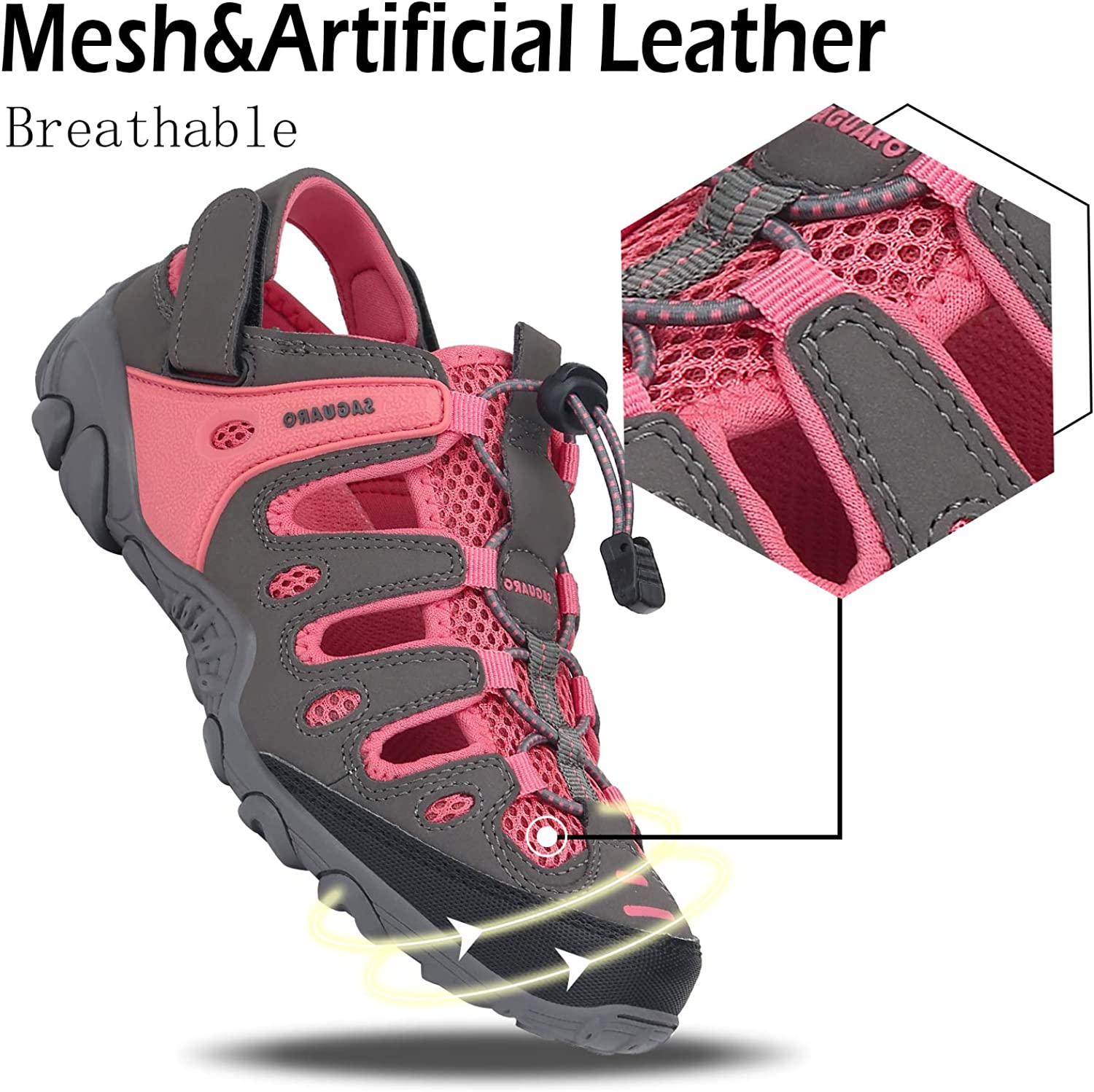 Womens Closed Toe Sandal Water Resistant Hiking Sandals Outdoor Sport Sandals Slip on Summer Water Shoes Beach River Fishing Pink 8.5 Women//6.5 Men