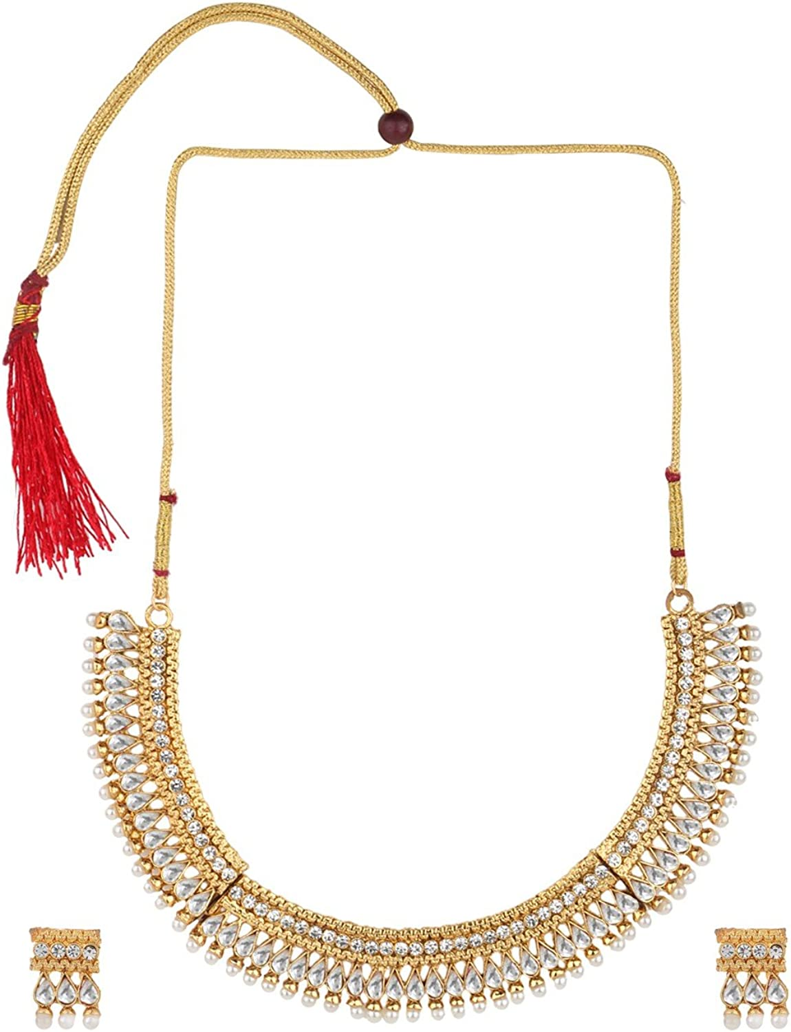 Efulgenz Indian Bollywood Traditional White Rhinestone with Faux Pearl Kundan Polki Heavy Bridal Designer Jewelry Choker Necklace Set in Antique 18K Gold Tone for Women and Girls