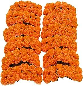 Queenbox 144Pcs Artificial Flower Rose, PE Foam Rose Head Fake Flower Rose for DIY Wedding Bouquets Bridal Shower Party Home Decor, Orange