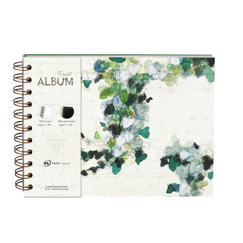 8 cm formato orizzontale Album da viaggio a spirale Hedera motivo casuale. 21 x 14 40 pagine a tinta unita 40 pagine a righe Clairefontaine 115511C