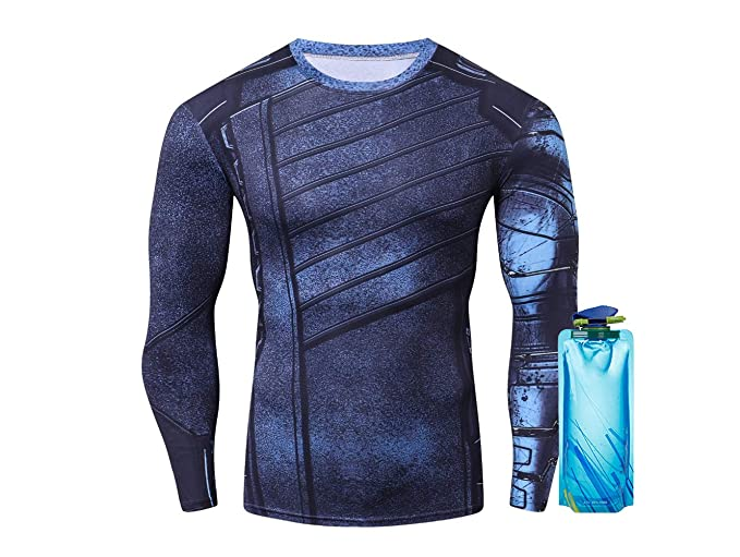 218f0bdaa8792 Amazon.com: 1Bar Winter Soldier Compression Shirt Marvel Superhero ...
