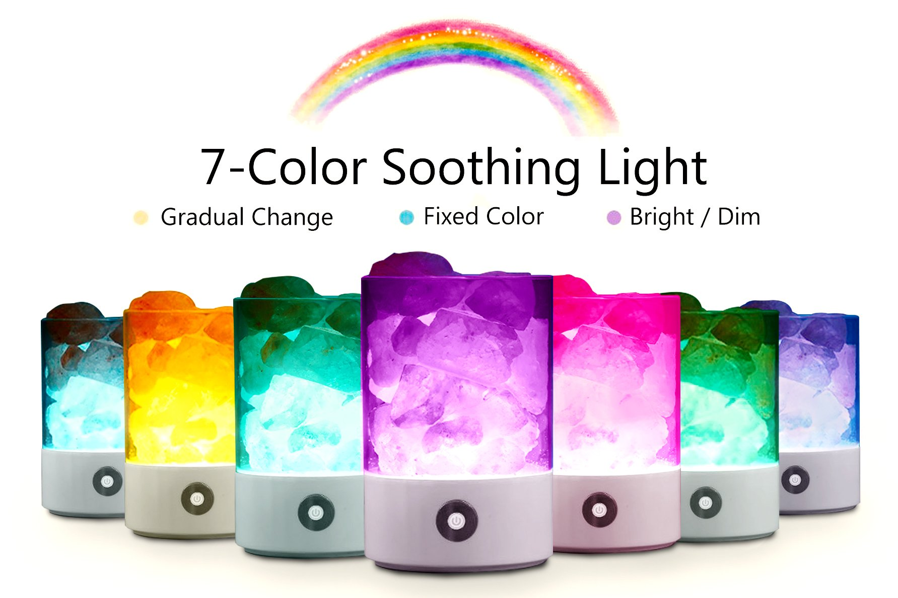 [Wall Adapter Included] Natural Himalayan Salt Lamp Dimmable USB Hymalain Sea Salt Crystal LED Desk Nightlight with Touch Dimmer Control Adjustable 7 Color Changing Night Light