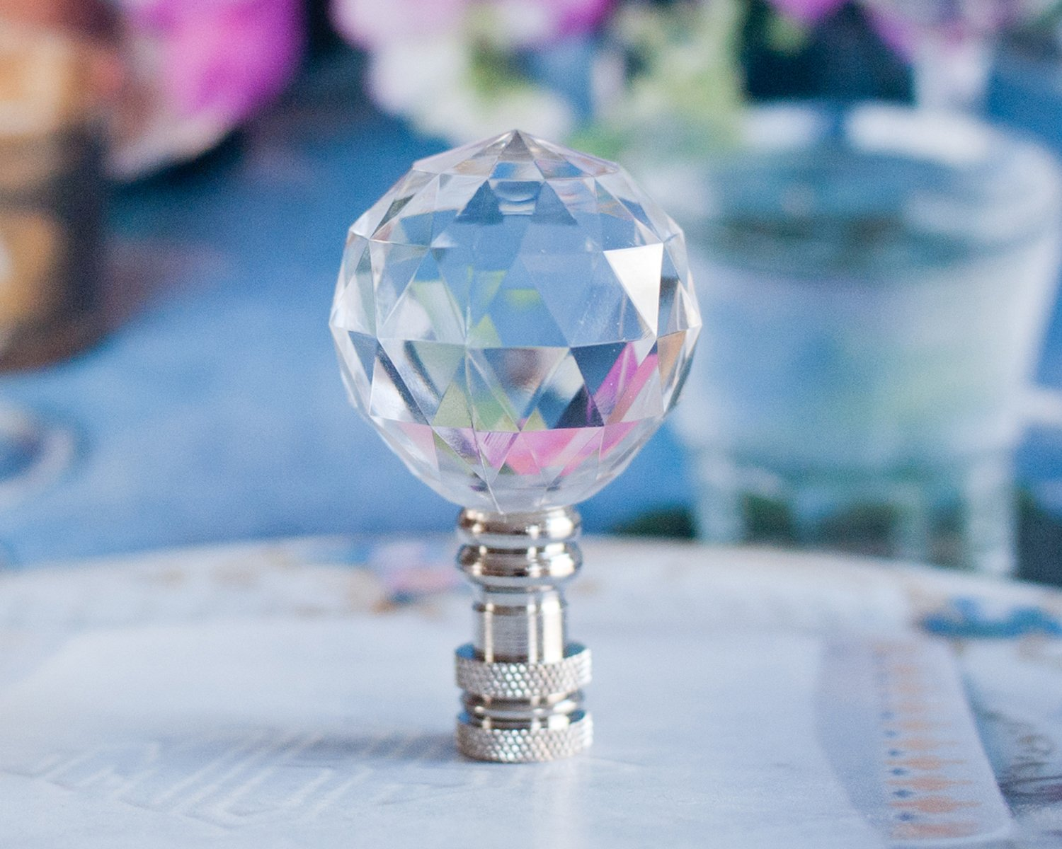 2 of Gorgeous Crystal Ball Lamp Shade Finial H2-1/2''