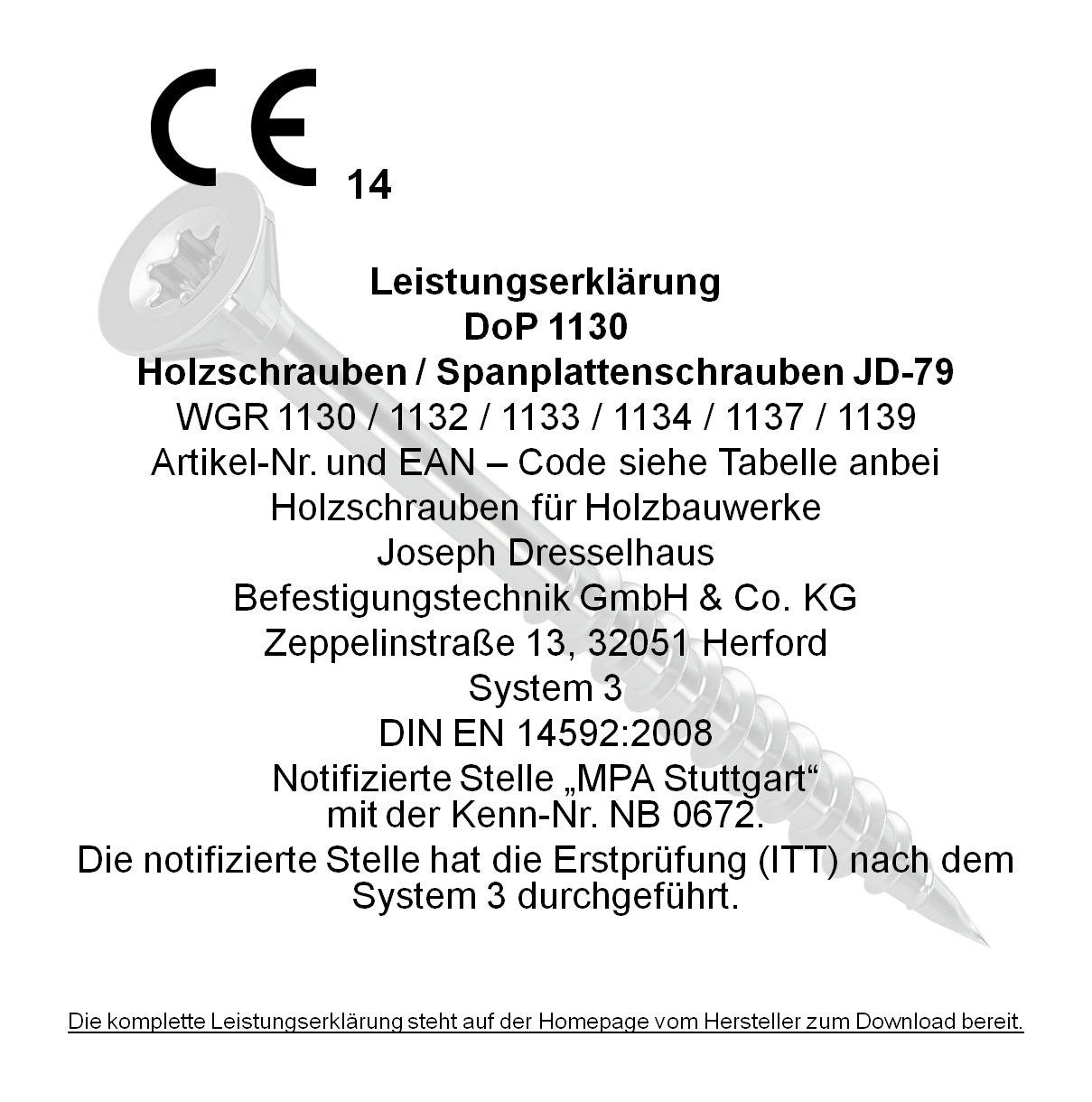 Dresselhaus 0//1132//021//5,0//80// //02 Tornillo para yeso Set de 100 Piezas 5 x 80
