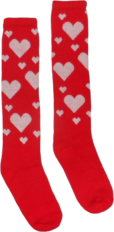 Valentine Hearts Knee High Athletic Womens Socks