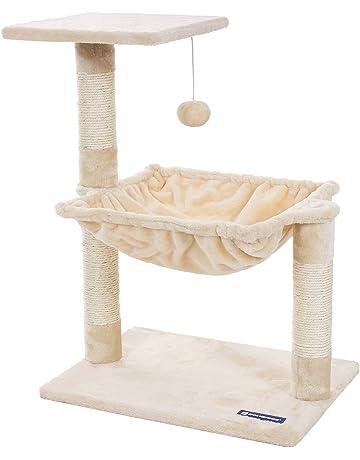 FEANDREA Compacto Árbol para Gatos Rascador con Nido Cuadrado Bola de Juego 70 cm Color Beige