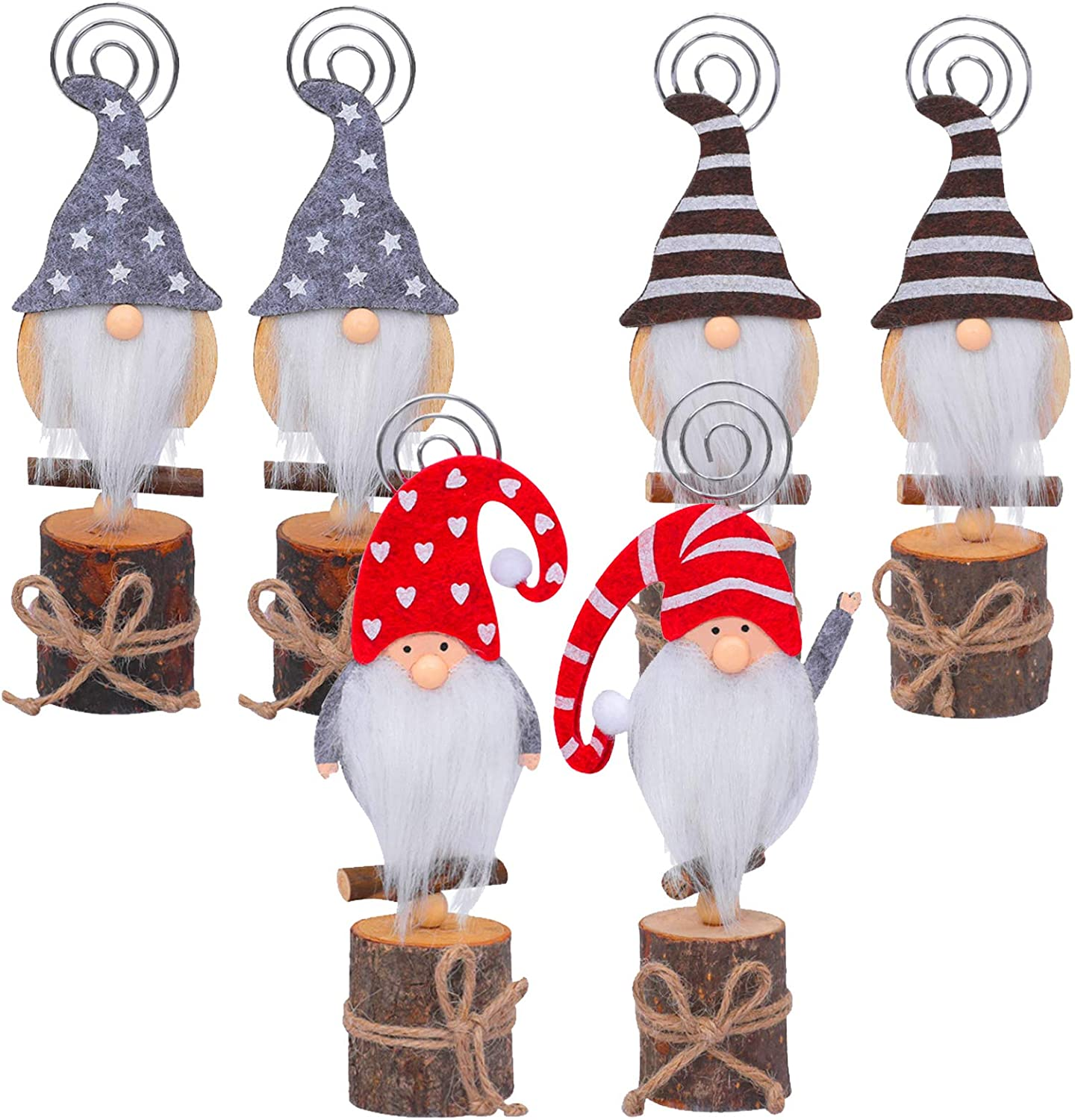 Set of 6 Christmas Swedish Tomte Card Holders- Xmas Plush Gnome Dolls Table Photo Holder in 4 Styles Wood Based Cartoon Clips for Memo Card Photo Xmas Table Display Deors Christmas Holiday Centerpiece: Home & Kitchen