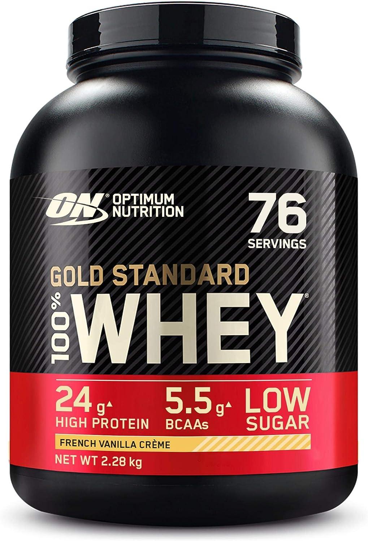 Optimum Nutrition Gold Standard 100% Whey Proteína en Polvo, Glutamina y Aminoácidos Naturales, BCAA, Crema de Vainilla Francesa, 76 Porciones, ...