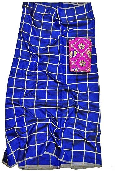 9aca4d2c3e samudra collection Women's 2 Tone Sana Silk Panetar Checks Saree with Heavy  Work Blouse Piece (Blue): Amazon.in: Clothing & Accessories