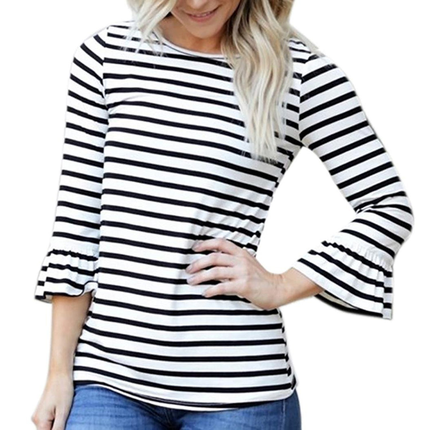 Autumn&Winter Clothing,Fulltime(TM) Women Plus Size Loose Pullover Flare Sleeve Stripe Shirt ZSS70921425