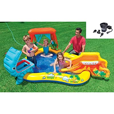 Intex 95in x 75in x 43in Dinosaur Play Center Kids Swimming Pool + Air Pump: Toys & Games