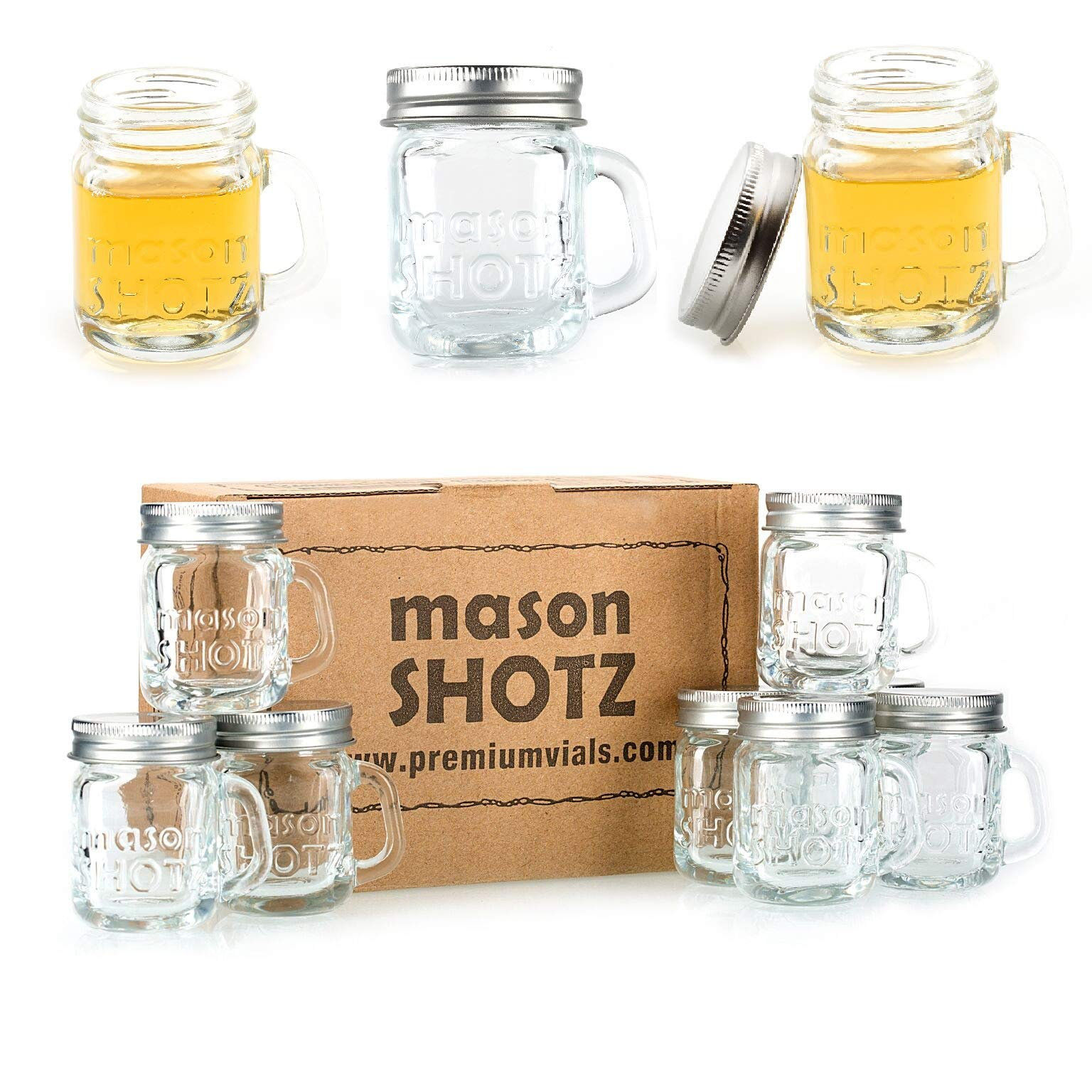 Premium Vials Mini Mason Jar Shot Glasses With Handles Set Of 8