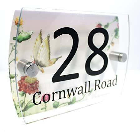 flowers and butterflies personalised house number plaque glass