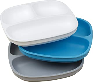 product image for Re-Play Made in The USA 3pk Toddler Feeding Divided Plates with Deep Sides for Easy Baby, Toddler, Child Feeding (Sky/Grey/White)