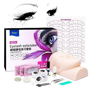 347ddda23da Amazon.com : Luckyfine Eyelash Extension Set Eye Lashes Graft Glue False  Lashes Tool Flat Head Professional Head Model Makeup Training Tool Kit  Luxury Set : ...