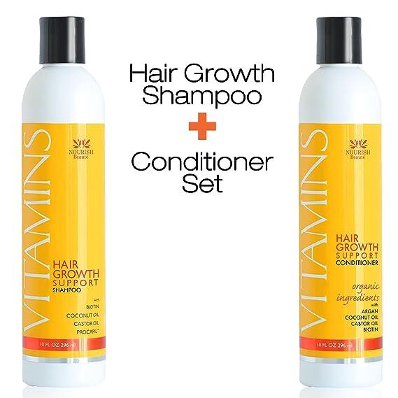 Nourish Beaute - Paquete Champú e acondicionador de cabello para la pérdida de cabello (2 X 296 ml) - Vitaminas naturales, bloqueador DHT para un ...