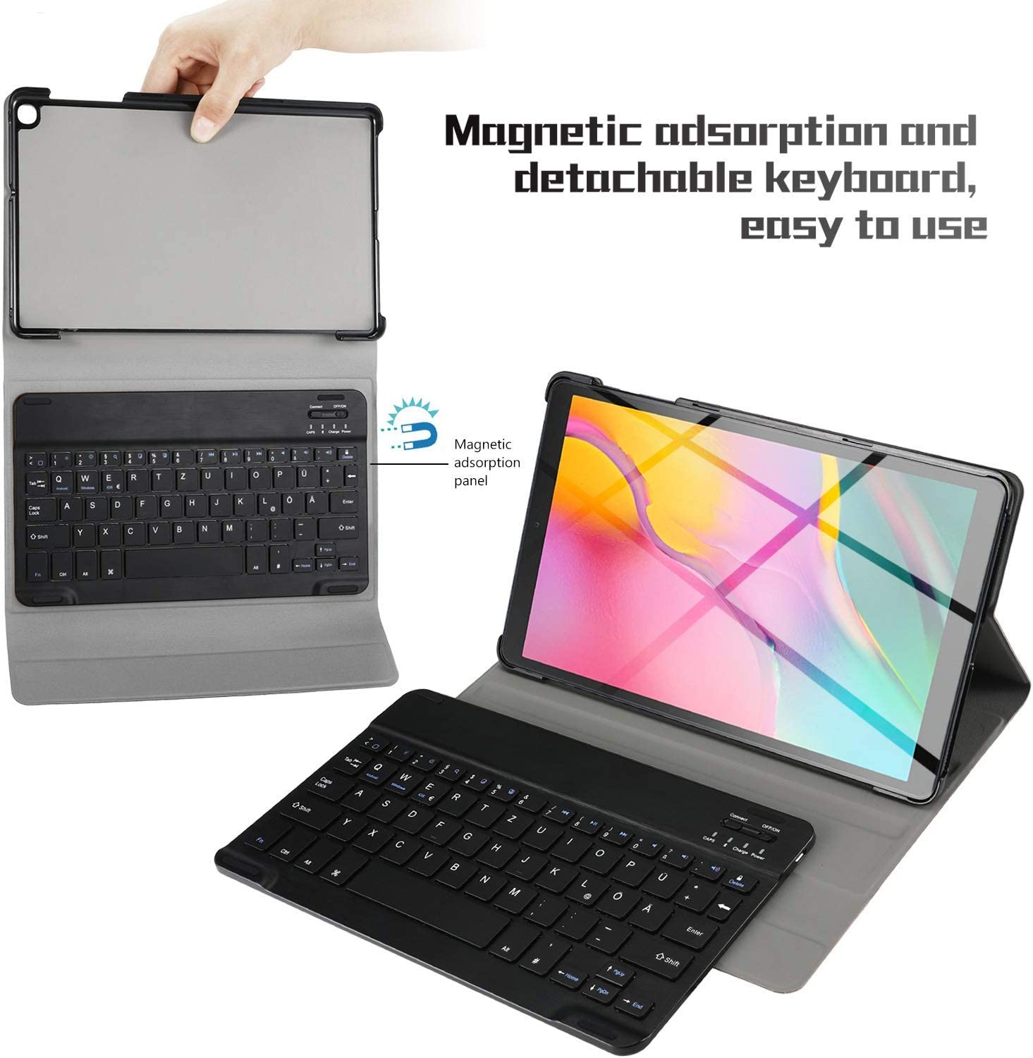 ACHICOO for sam//Sung Gala//xy Tab A 10.1T510//T515 Split Colorful Backlit Bluetooth Keyboard Protective Case Black Regular Normal Version