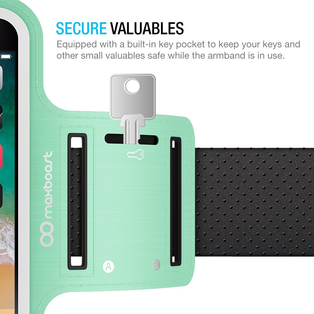Maxboost Armband [Original+] For Large Phone iPhone 8 Plus, 7 6 6S Plus, X, Galaxy S9 S8 Plus, Note 8 5 2 (Fits Otterbox Defender Lifeproof case) [Water Resistant] Universal Running Pouch Key Holder by Maxboost (Image #8)