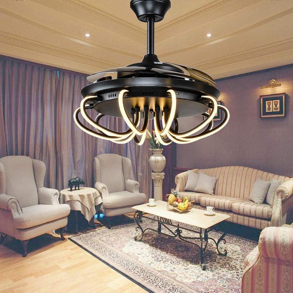 Luz de Ventilador de Techo Inversa Posmoderna Yzpfsd, 4 Aspas Retráctiles Led Remoto 3 Luces de Araña Que Cambian de Color para Sala Interior Ventilador Silencioso Plegable de Velocidad de 6 Velocida