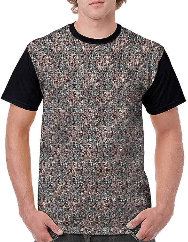 BlountDecor Unisex T-Shirt,Oriental Paisley Motif Fashion Personality Customization