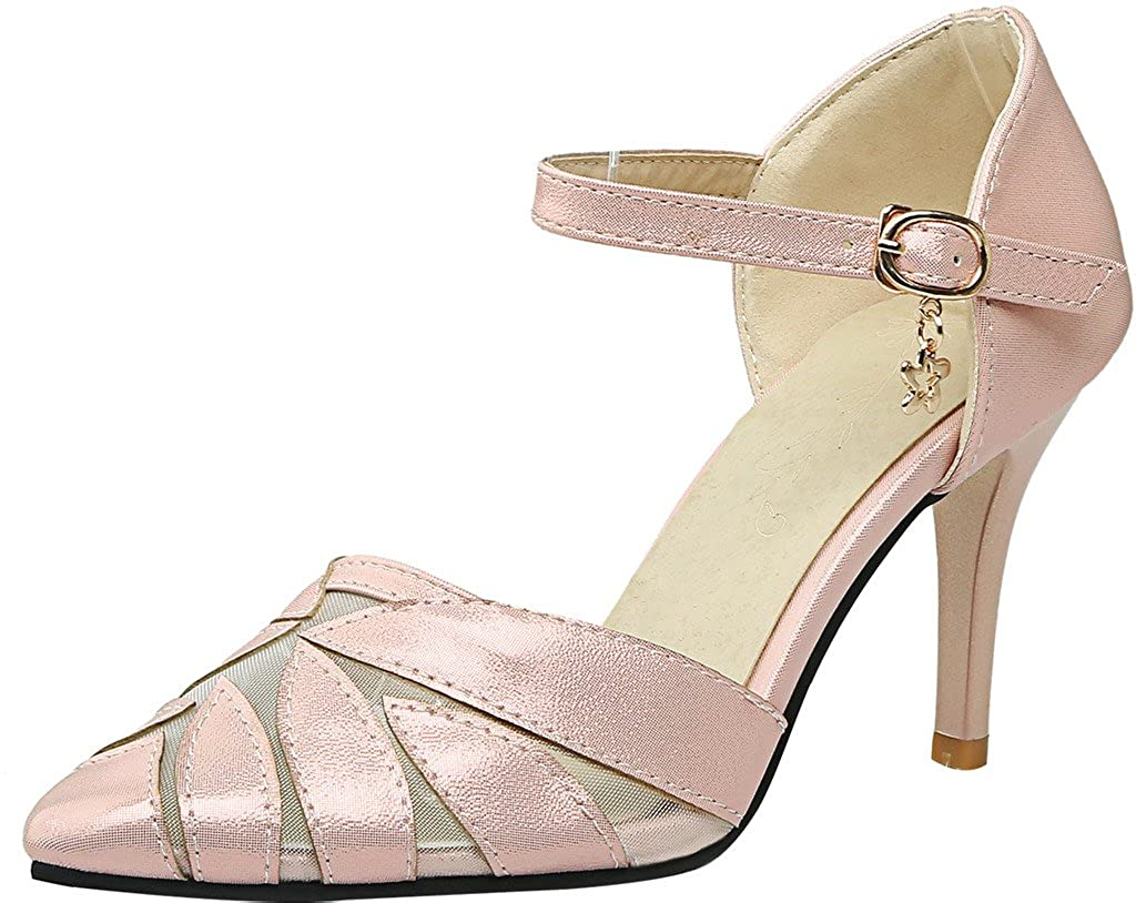 Calaier Stiletto Damen Salbs 8CM Stiletto Calaier Schnalle Sandalen Schuhe Pink 110d56