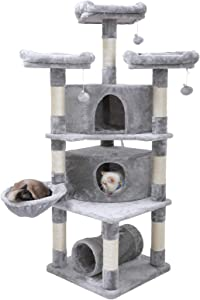 "Hey-brother 65"" Extra Large Multi-Level Cat Tree Condo Furniture with Sisal-Covered Scratching Posts, 2 Bigger Plush Condos, Perch Hammock for Kittens, Cats and Pets"