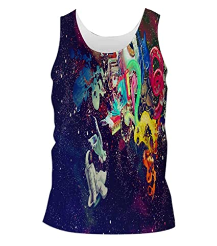 Snoogg Trippy Spaceman Mens Casual Beach Fitness Vests Tank Tops Sleeveless T shirts