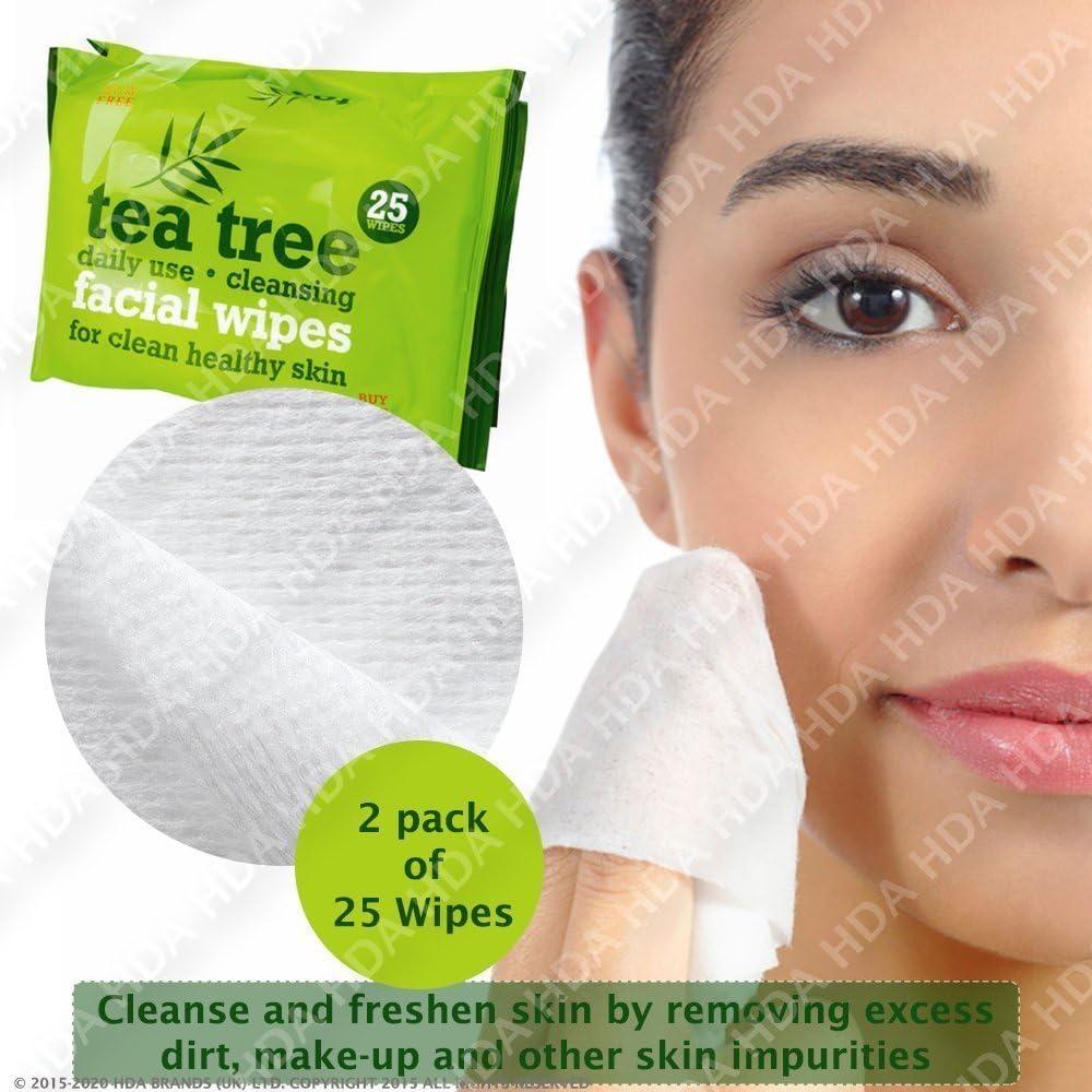 Árbol del Té uso diario limpieza facial maquillaje toallitas, pack de 2, Total 50 toallitas: Amazon.es: Belleza