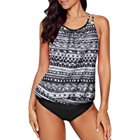 Aleumdr Women 2 Piece Blouson Printed Strappy Criss Cross Back Tankini Top with Bikini Bottom Bathing Suits