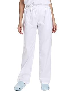 WWOO Pantalones médicos de Mujer Blancos Pantalones de Trabajo Uniformes de Hospital Cintura elástica Material médico