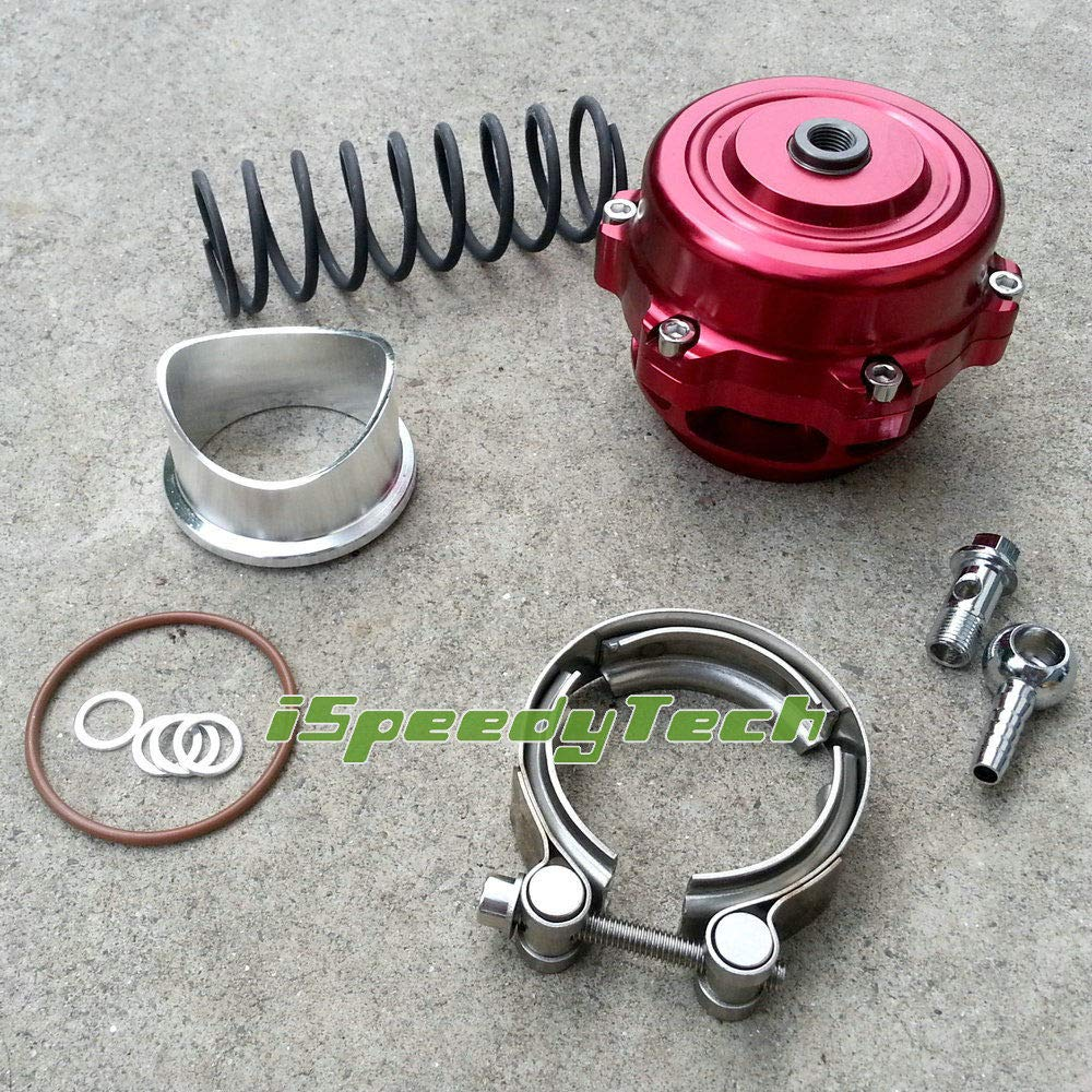 BOV 50MM Turbo InterCooler Blow Off Valve + Aluminum Flange + V-band Clamp - RED Ispeedytech