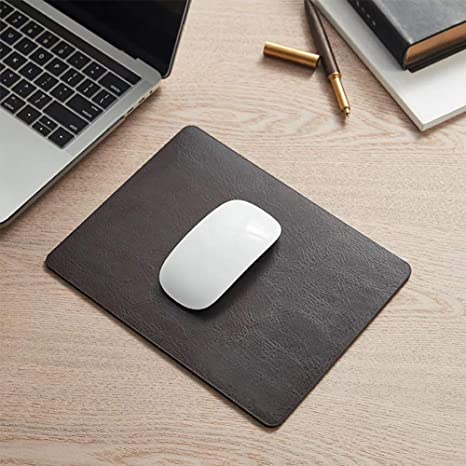 by Pleasant Breeze Non-Slip Suede Backing Thick Cowhide Leather Mouse Pad with Waterproof Coating Espresso Brown-2 PCS//Pack