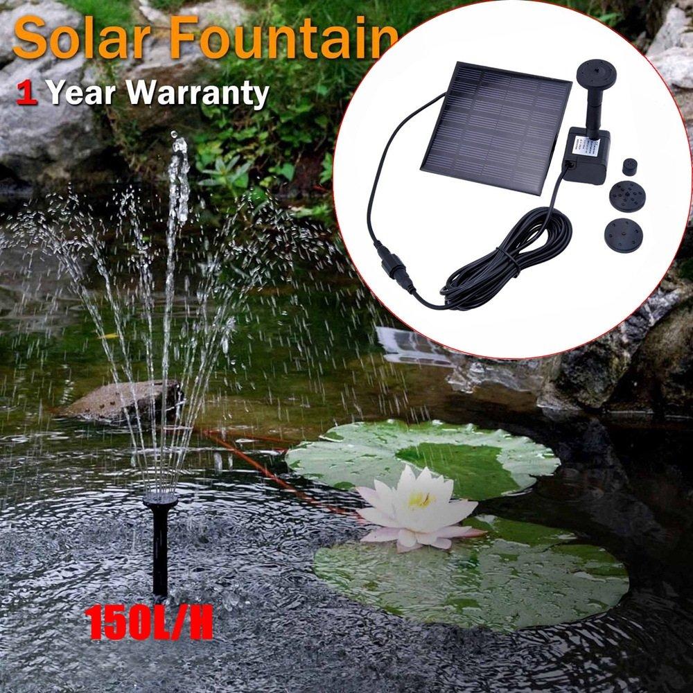 XZB LED Solar Water Fountain Pump Decorative Garden Water Pump Light, Efficient Solar Panel, 3 Nozzles, Suitable For Garden And Patio