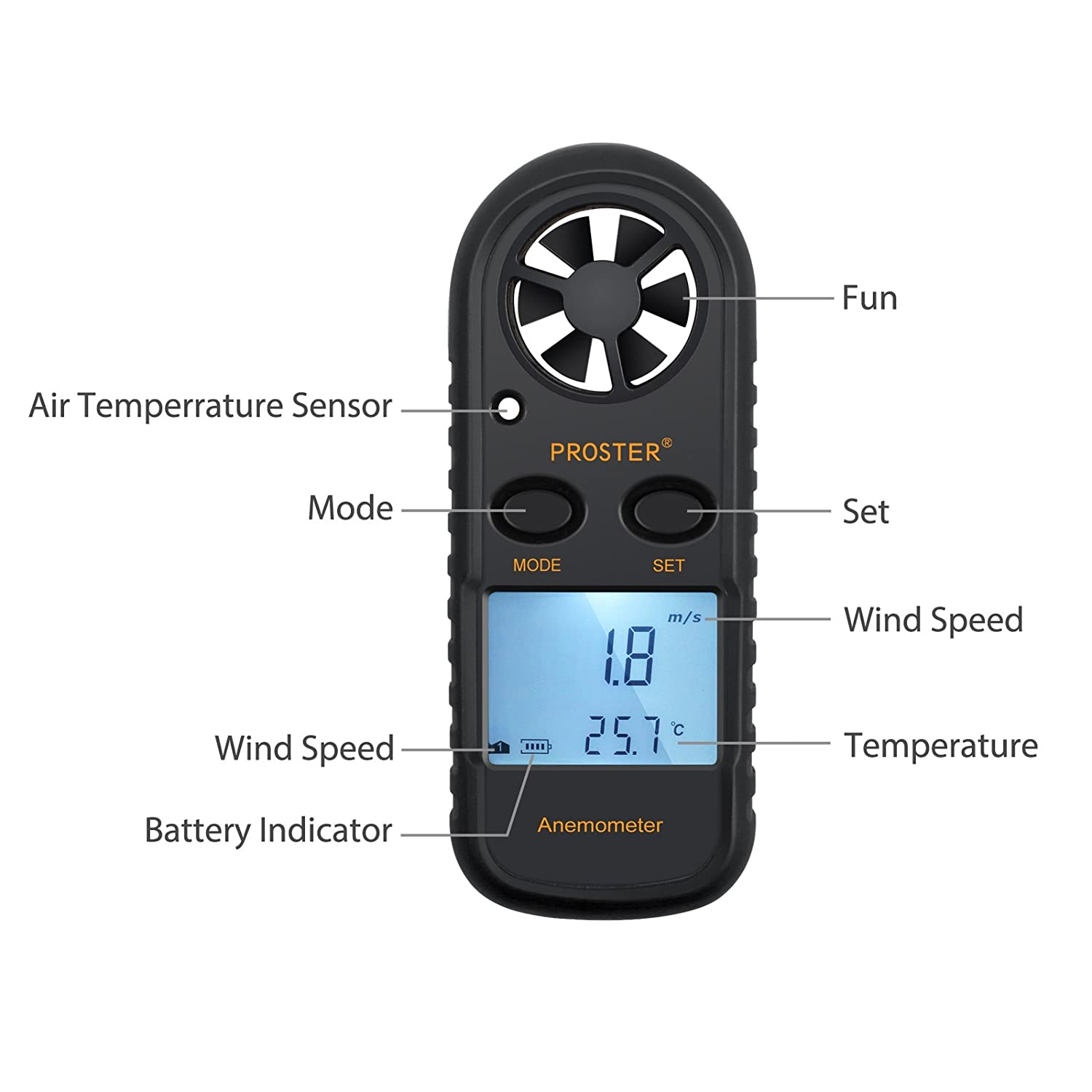 Proster Anemometers Handheld Wind Speed Meter Portable Wind Gauges Air Flow  Thermometer with LCD Backlight for Windsurfing Kiteflying Sailing Surfing