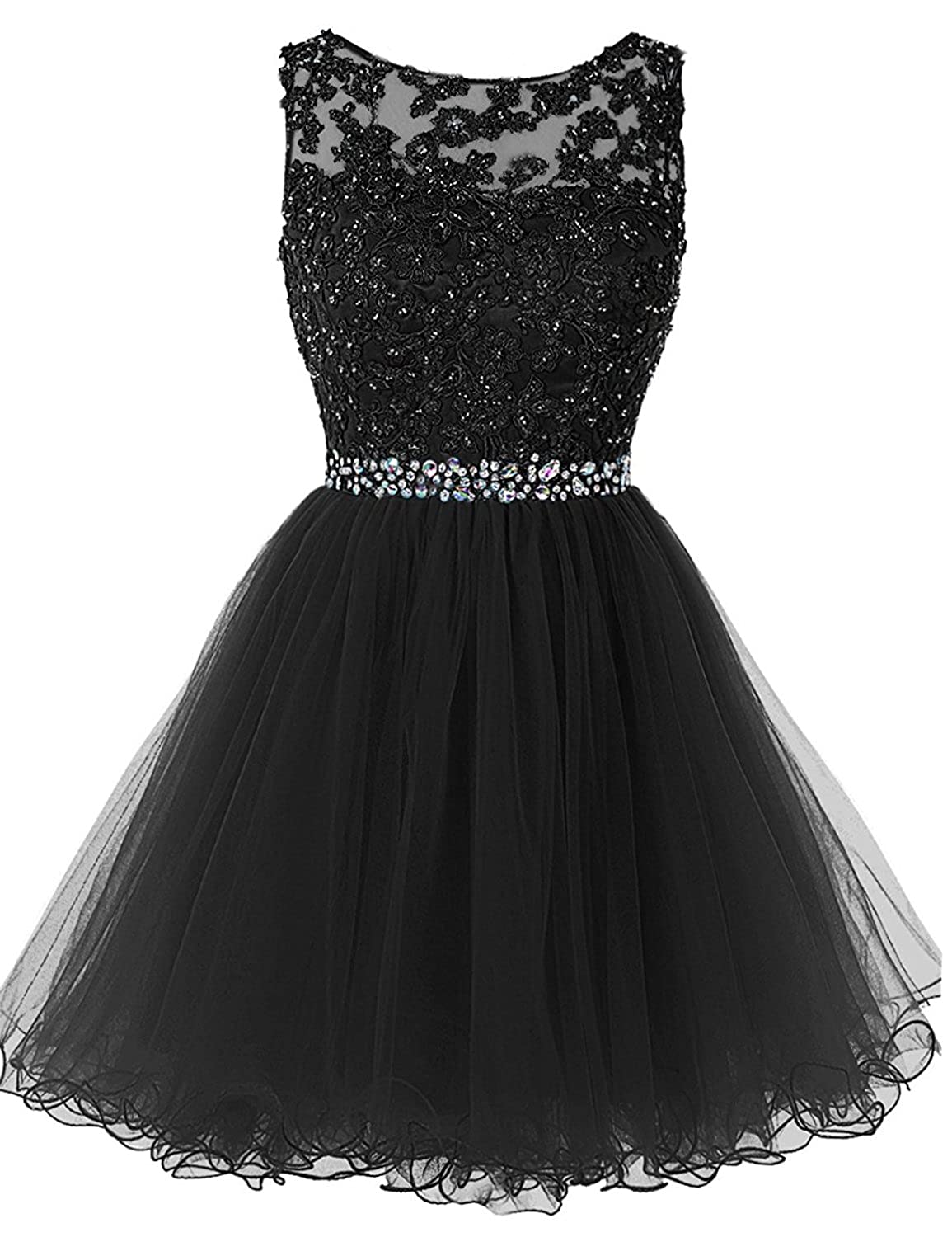 361black Sarahbridal Women's Short Tulle Beading Homecoming Dresses 2019 Prom Party Gowns