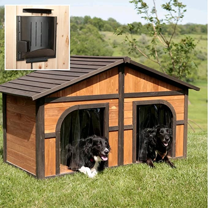 B&G Solid Wood Construction Heated Extra Large Dog House for One or Two Dogs