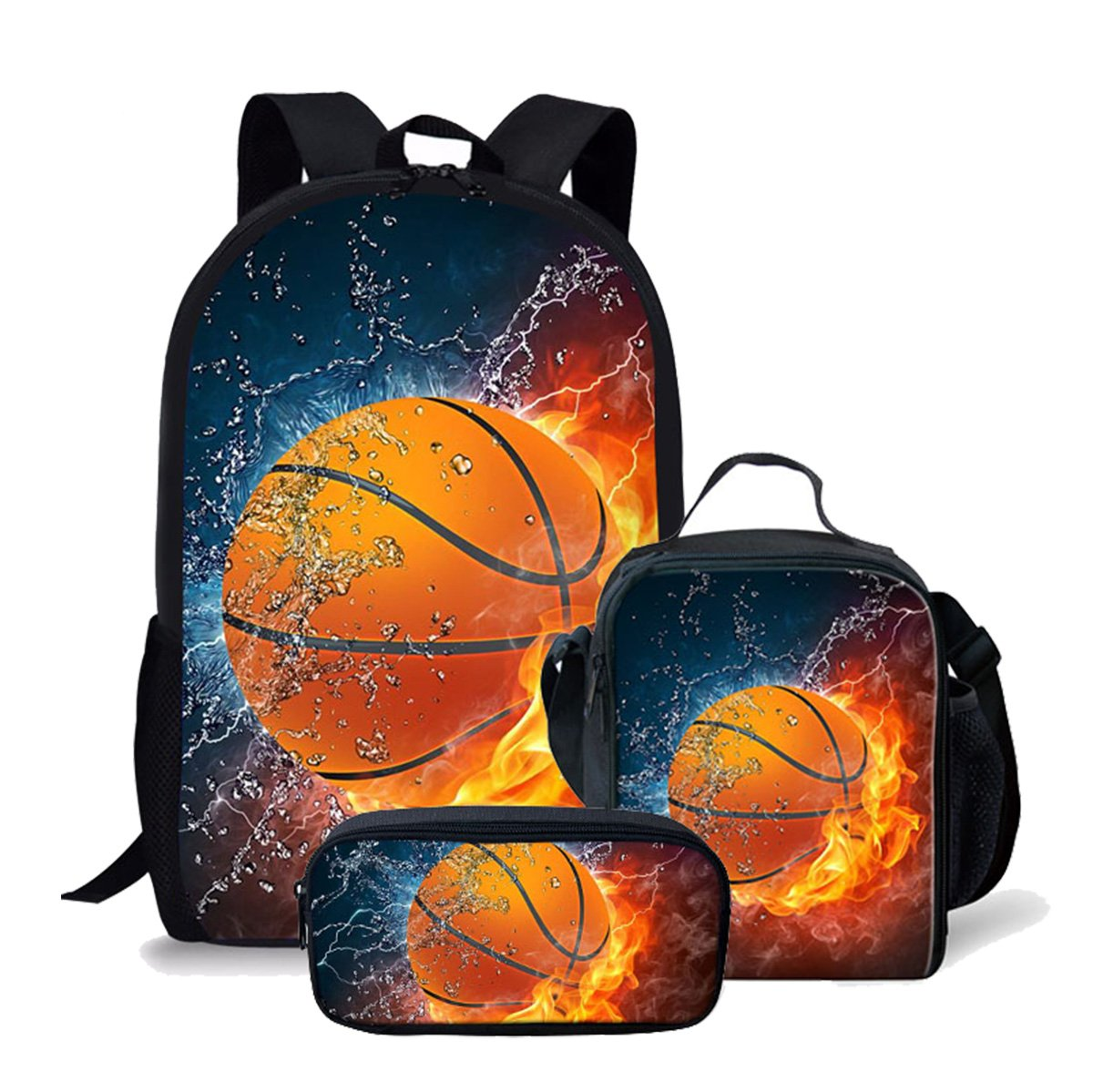 Kids Flame Basketball Backpack Schoolbag Bookbag Lunch Bag Pencil Pouch 3 Piece Set