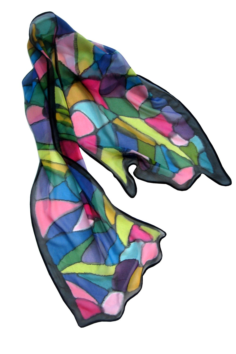 ArtisanStreet's Stained Glass Hand Painted Silk Scarf by ArtisanStreet
