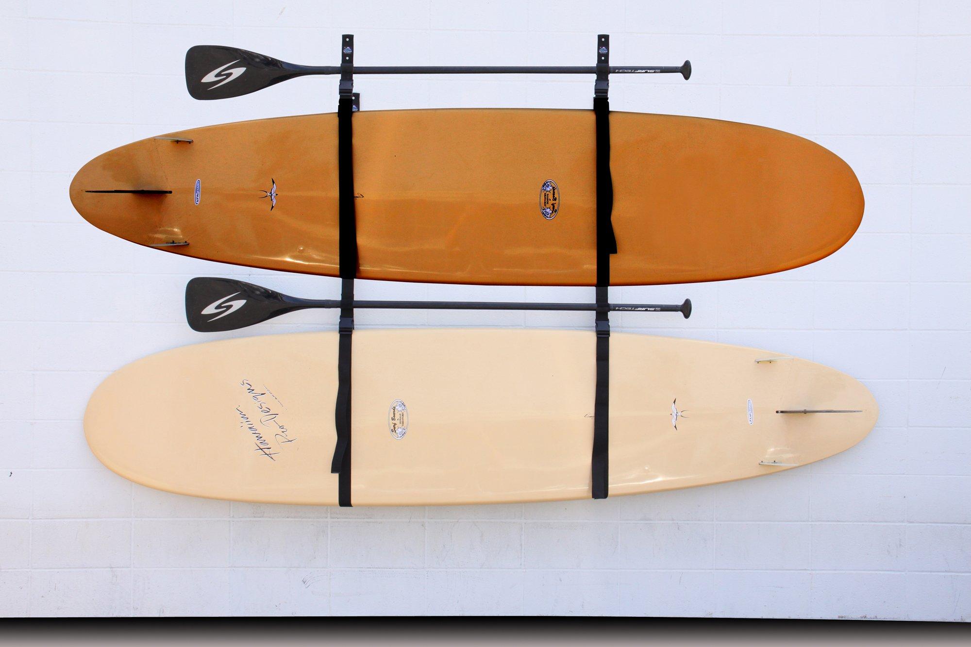 Webbing Boat Hanger Strap - Set of 2, kayak wall hanger, SUP wall hanger, kayak hanger, canoe hanger, surfboard hanger, garage hanger, kayak wall rack hanger adjustable by Surf To Summit