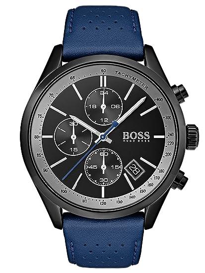 Hugo BOSS Reloj Cronógrafo para Hombre de Cuarzo con Correa en Cuero 1513563: Amazon.es: Relojes