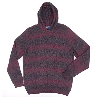 American Rag Mens Sweater Dark Scarlet Large Pullover Hooded at Men's Clothing store