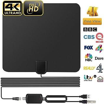 Antena de TV Interior, Antena Interior HDTV, Mayor Rango de Recepción 60 Millas, 4K 1080P con Desmontable Amplificador de Señal y Amplificador Avanzado y Cable Coaxial de 13 Pies: Amazon.es: Electrónica