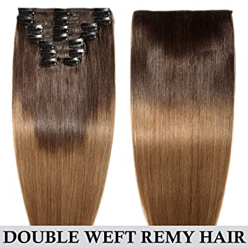 787c4317232 Double Weft Human Hair Extensions Clip in Real Remy Hair Full Head 8 Pieces  - 22
