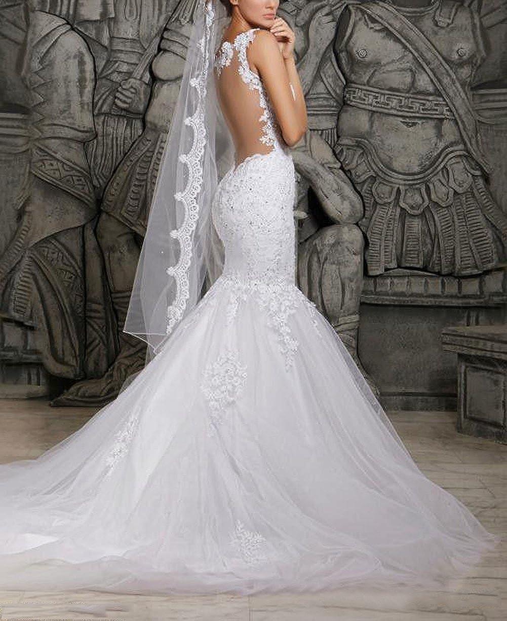 DMDRS Women Mermaid Lace Backless Spaghetti Wedding Dresses Bridal